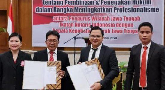 Pengwil Jawa Tengah INI Saat MOU dengan Advokad dan Konsultan Hukum Untuk Perlindungan Notaris di Jawa Tengah